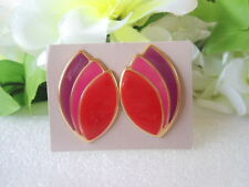 US AVON Vintage Bold Chunky Paradise Colors Enamel Metal Earrings 1987 Jewelry