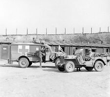 WWII Photo US Army Jeep  Penig Concentration Camp  WW2 B&W World War Two/ 1364