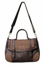 BANNED STEAMPUNK BROWN STRIPE HANDBAG SHOULDER BAG LADIES BLACK KEY HOLE