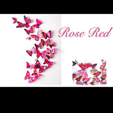 24 Pcs Colored 3D Butterfly Wall Stickers & Magnetic Decals Home Room Decor