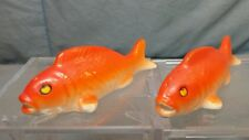 """Vintage Gold Orange Coy Fish Goldfish Salt & Pepper Shakers JAPAN 3.5"""" long"""