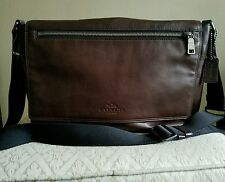 COACH Mens Business MESSENGER Briefcase WORK TRAVEL BROWN LEATHER BAG $450
