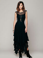 Tiered Chantilly Lace Backless Cocktail Gown Women Evening Party Prom Maxi Dress