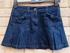 DARK BLUE FLARE A LINE TAILORED DENIM BOW POCKETS SKATER JEANS SKIRT 4 6 XS