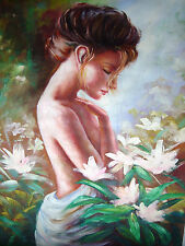 Woman Lady Female White Drape Flower Garden Bare 24 x 36 Oil Painting Canvas
