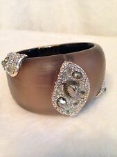 ALEXIS BITTAR Warm Gray Taupe Brown LUCITE Crystal Encrusted Hinged Bracelet