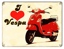 Reproduction I Love Vespa Motor Bicycle Sign 9X12