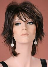 Ladies Medium Wig Tousled Layers Off Black with Copper Highlights Fashion Wig