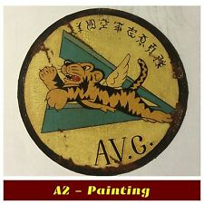 WW2 Hand Painted Antiqued Flying Tigers Leather Patch For A2 / G1 Flying Jacket