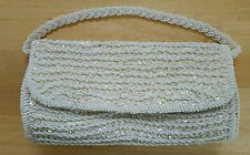 Vintage WHITE BEADED BAG CLUTCH BAGGETTE PROM EVENING FORMAL PURSE