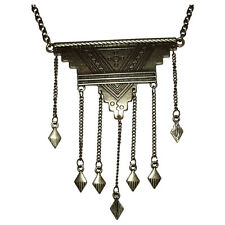 New African Tuareg Inspired Brass Pendant Necklace with Dangles