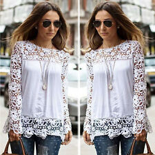 Women Shirt Sheer Sleeve Embroidery Lace Crochet Tee Chiffon Blouse Tops XL New