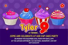 Personalised Birthday Invitations Cupcake Party x 5