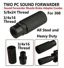 2 PC Sound Forwarder 3/4x16 Thread Combo W Muzzle Brake 5/8x24 Adapter For 308