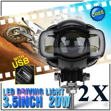 Pair of Motorcycle LED Driving Spotlight Fog Head Light Lamps Bright Bar Clamp