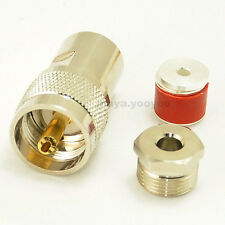UHF PL259 male plug clamp for RG58 LMR195 RG142 cable connector