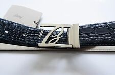 $2250 NEW BRIONI Blue Crocodile Alligator Leather Belt Size 40 US 56 EU 100 CM