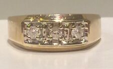 Mens Natural Diamond Ring Solid 14k Yellow Gold Retails $1000