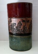 Dirty Dog Pottery Hand Thrown Dragonflies and Flowers Eden Vase 6.5 inch tall