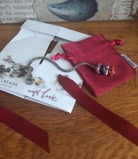 Genuine Troll bead Silver Leaf Bracelet With 3 Troll beads Plus Gift Box / Bag
