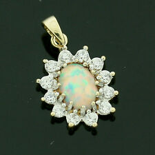 9ct Gold Synthetic Opal and White Cubic Zirconia Pendant - For Her