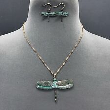 Unique Rose Gold Chain Antique Patina Dragonfly Pendant Necklace With Earrings