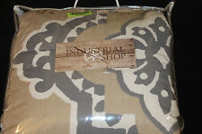 The Industrial Shop Architectural Tile Twin Comforter Set 2 pc tan gray new