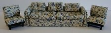 Vintage Lot Of 3 Wood Upholstered Dollhouse Furniture Floral Sofa & Two Chairs