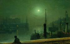 """Oil painting John Atkinson - Harbor landscape at moonlight & ship no framed 36"""""""