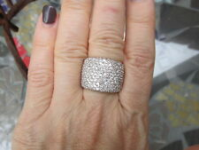 18 KT White Gold Pave Diamond Cigar Band Design Wide Ring ESTATE 4.50 CT