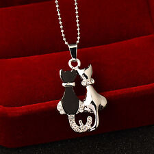 2017 New Fashion Couple Black Cat Pendant Sliver Necklace For Women Statement