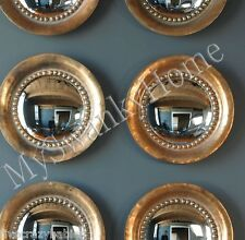 "Set of 2 OXIDIZED COPPER 17"" Round Porthole Wall Mirrors PAIR Convex HORCHOW"