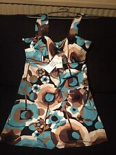 New Look Ladies Dress Long Top Size 12 Blue Brown New With Tags
