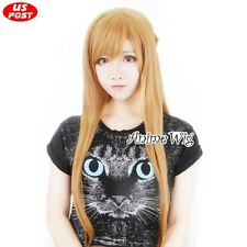 Anime Sword Art Online Asuna Yuuki Orange Long Wavy Hair Women Cosplay Party Wig
