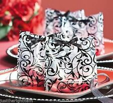 12 Damask Black White Wedding Favor Candy Buffet Bag Reception Anniversary PARTY
