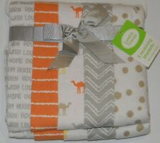 New Luvable Friends White Gray Orange Camel Baby Flannel Receiving Blankets