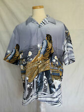 Claudio Nucci Anime Manga button front mens shirt short sleeves size XL