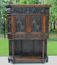 Antique French BARLEY TWIST Vestry Wine Liquor Cabinet GOTHIC Bookcase On Sale!