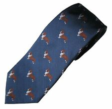 Welsh Corgi Pembroke Necktie Dog Breed K9 Woven Silk Mens Clothing Accessory Tie