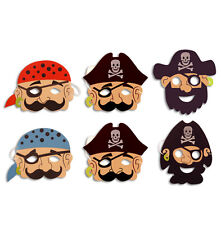 6 x PIRATE MASKS, BOYS GIRLS CHRISTMAS STOCKING FILLER XMAS PRESENT PARTY TOY