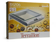 Terraillon BX206 Wall-Mount Glass/Silver Kitchen Scale Timer, Clock, Tare NEW