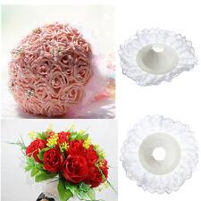 10x Bridal Wedding Bouquet Floral Flower Handle Holder Lace Edge Collar Decor