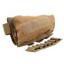 Hunting Rifle Shotgun Buttstock Cheek Rest Ammo Shell Mag Pouch Holder Tan