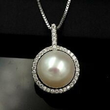 12 mm White Freshwater Pearl CZ 925 Sterling Silver Pendant Chain Necklace 03510