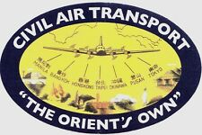 CIVIL AIR TRANSPORT CAT 2 LARGE BAGGAGE STICKERS CIA AIR AMERICA VIETNAM AIRLINE