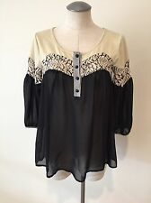 Gimmicks By Bke Buckle Womens Top Shirt Small S Black Cream Top Blouse T Sheer