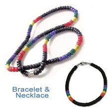 Pride Shack - Lesbian Gay Pride Black Rainbow Puka Shell Bead Necklace Bracelet