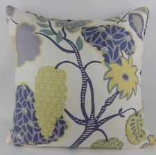 "Large 22"" Linen Blue Yellow Mustard Villa Nova Indienne Pillow Cushion Cover"