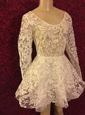 white sheer open back floral lace winter new years dress pixie snowflake M