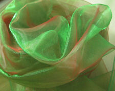 A132 (Per Meter)Green Red Iridescent 2 Tones Crystal Mirror Organza Sheer Fabric